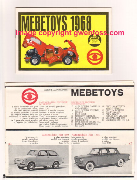 Image for Mebetoys Toy Catalog 1968 :  Die Cast Metal Toys, 1:43 Scale Model Cars
