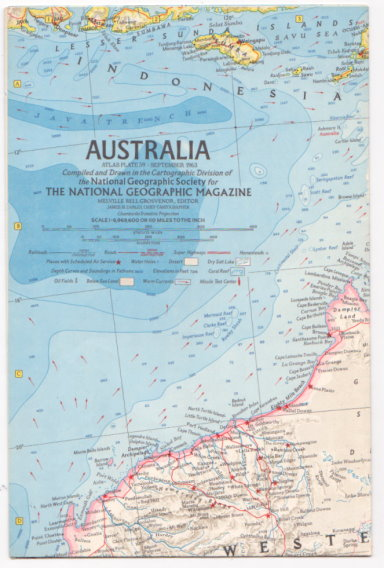 Image for Australia Map :  National Geographic, Atlas Plate 59, September 1963
