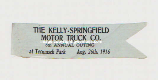 Image for Antique Ribbon, Kelly Springfield Motor Truck Company :  6th Annual Outing, Tecumseh Park, August 26, 1916