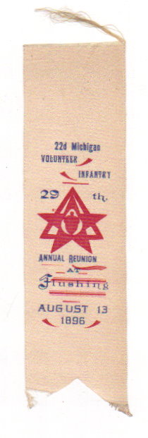 Image for Antique Ribbon, 22nd Michigan Volunteer Infantry :  29th Annual Reunion At Flushing, August 13, 1896