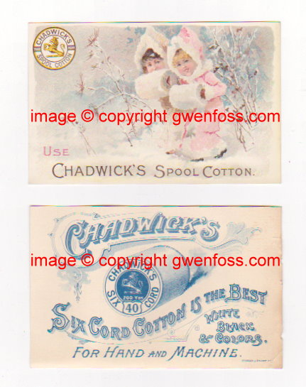 Image for Chadwick's Spool Cotton :  Advertising Card or Blotter, 1870