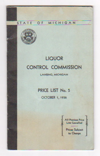 Image for State of Michigan Liquor Control Commission :  Price List Number 5
