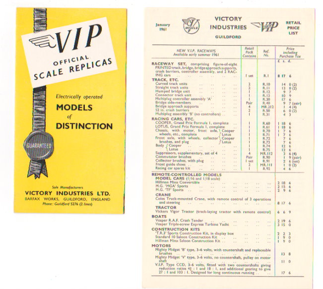 Image for VIP Official Scale Replicas :  Electrically Operated Models of Distinction (Catalog, 1961)