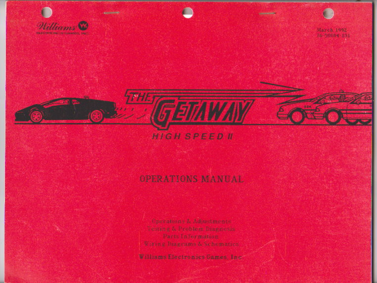 Image for Getaway, the :  High Speed II, Pinball Operations Manual