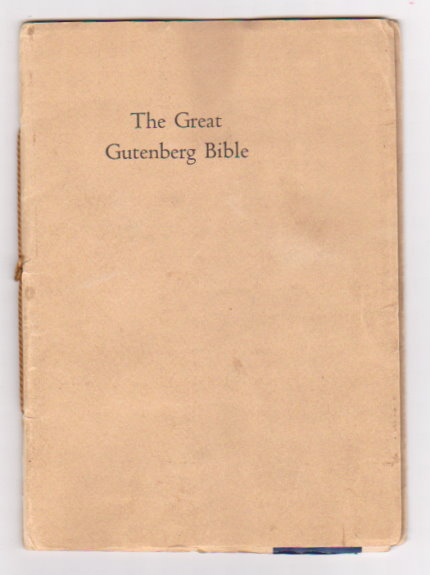 Image for Great Gutenberg Bible, the :  Speech and Reply