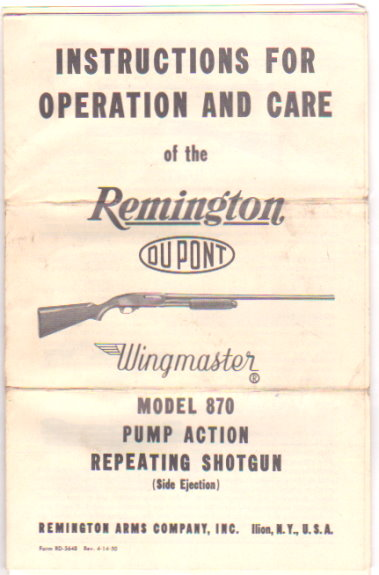 Image for Instructions for Operation and Care of the Reminton Dupont Wingmaster Model 870 Pump Action Repeating Shotgun
