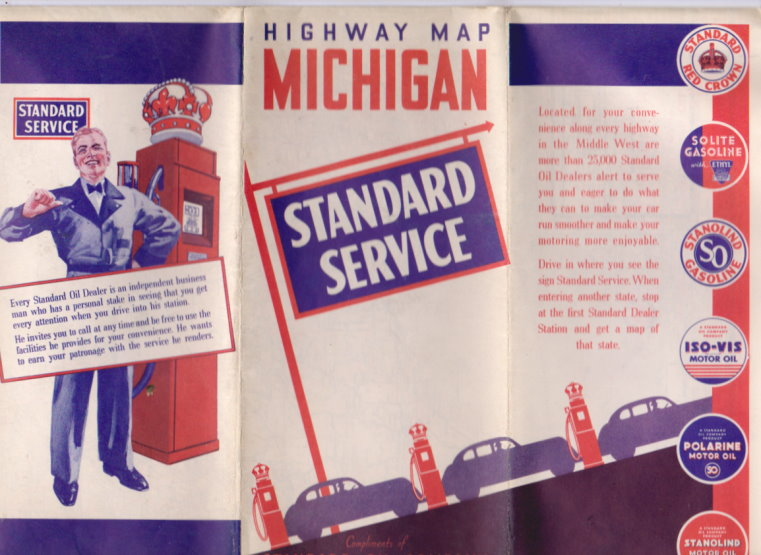Image for Michigan Road Map :  Standard Oil Company of Indiana, 1938