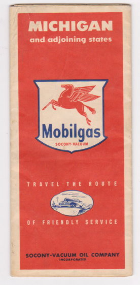 Image for Michigan Road Map, Mobil Oil, Mobilgas :  Michigan and Adjoining States, 1941