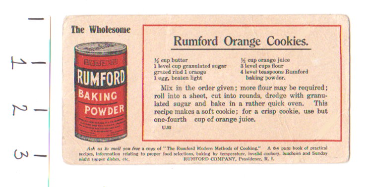 Image for Rumford Orange Cookies :  Wholesome Rumford Baking Powder