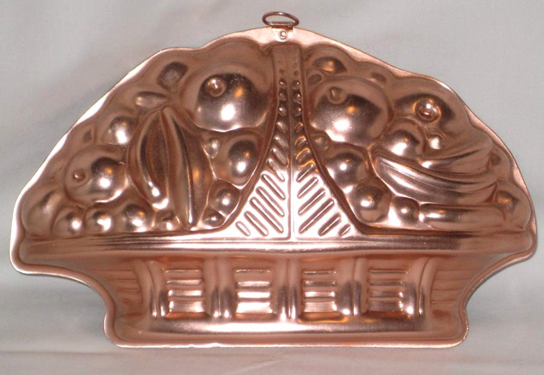 Image for Vintage Copper Toned Aluminum Basket of Fruit Jell-O Mold