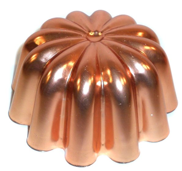 Image for Vintage Copper Toned Aluminum Ruffled Dome Jell-O Mold