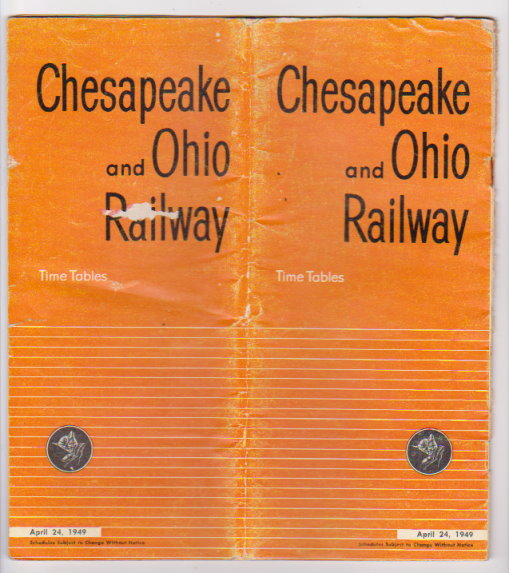 Image for Chesapeake and Ohio Railway Time Tables :  April 24, 1949