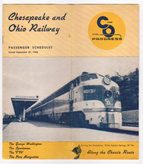 Image for Chesapeake and Ohio Railway Passenger Schedules :  Time Tables, September 27, 1953