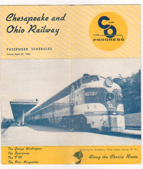 Image for Chesapeake and Ohio Railway Passenger Schedules :  Time Tables, April 25, 1954