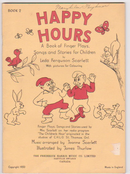 Image for Happy Hours, a Book of Finger Plays, Songs and Stories for Children, Book 2 :  With Pictures for Colouring