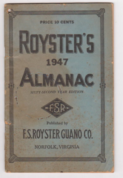 Image for Royster's 1947 Almanac :  Royster Almanac, 62nd Year Edition