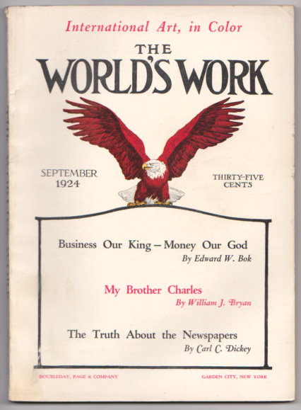 Image for World's Work, The, Volume 68, Number 5, September 1924 :  Business Our King, Money Our God