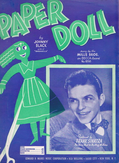 Image for Paper Doll, Sheet Music :  Frank Sinatra Cover, Sung by Mills Brothers