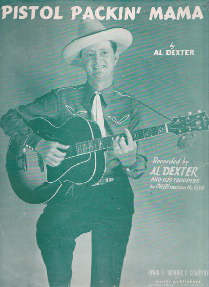 Image for Pistol Packin ' Mama Sheet Music, Al Dexter Cover