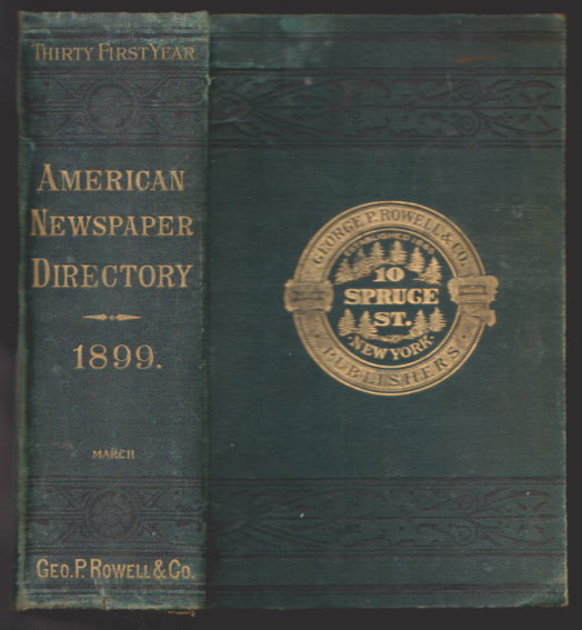 Image for American Newspaper Directory :  March 1899