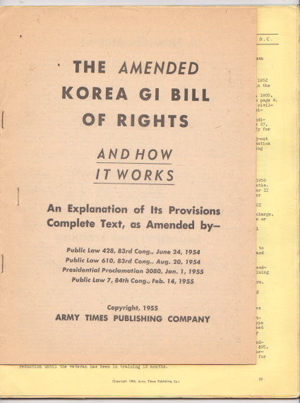 Image for Amended Korea GI Bill of Rights and How it Works :  An Explanation of its Provisions, Complete Text (Korean War)
