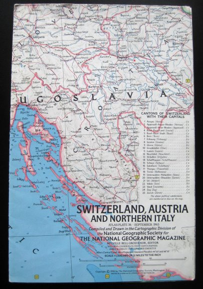 Image for Switzerland, Austria and Northern Italy Map :  National Geographic, Atlas Plate 36, September 1965