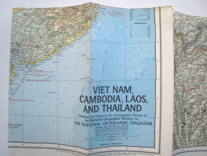 Image for Viet Nam, Cambodia, Laos and Thailand Map :  National Geographic, Febuary 1967