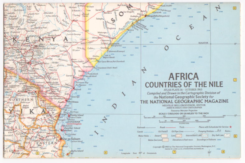 Image for Map of Africa, Countries of the Nile:  National Geographic, Atlas Plate 56, October 1963