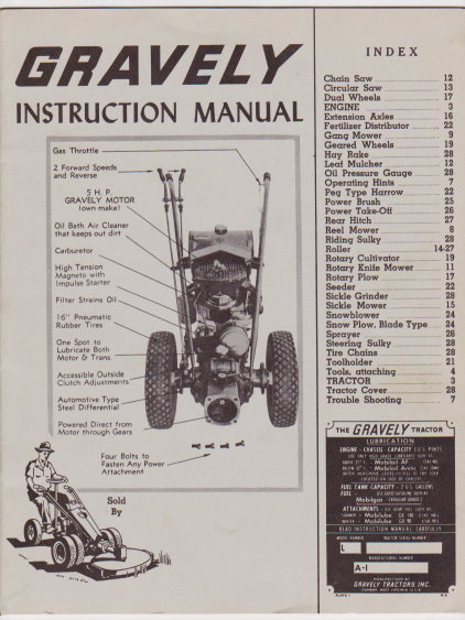 Image for Gravely Instruction Manual, Model L :  Gravely Tractors, 1958