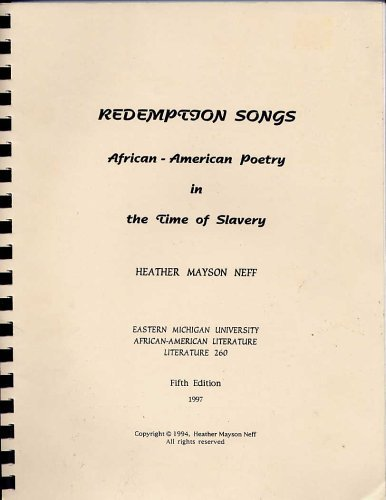 Image for Redemption Songs :  African American Poetry in the Time of Slavery